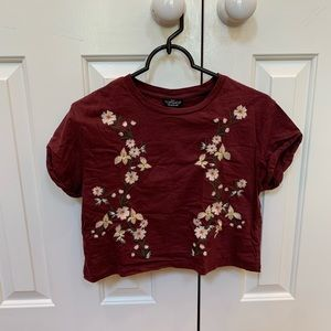 Topshop Cropped Floral Tee